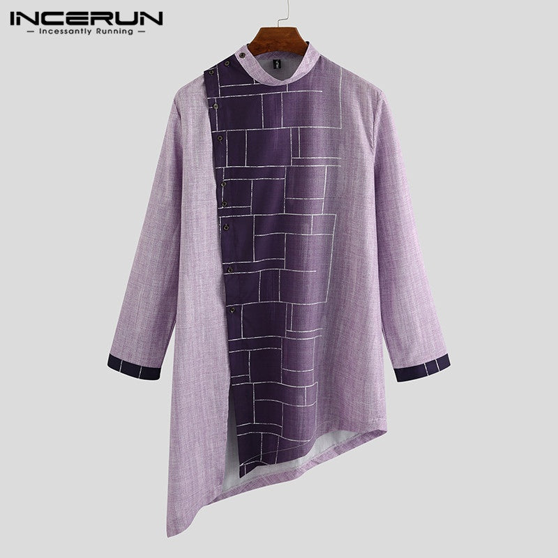 Muslim Fashion Men's Long Sleeve Gradient Irregular Hem Kurta Arabic Solid Color Kaftan Long Shirts