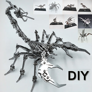 Mechanical Creative Toy Decoration DIY Steel Warcraft 3D Metal Puzzle Assembly Scorpion King Dinosaurs Animals Stainless Steel Model Kit Toy Movable Joint Original Box