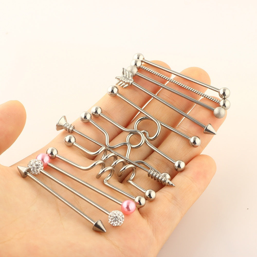 13Pcs/set 14G Surgical Steel Industrial Barbell for Women Men Cartilage Earring Body Piercing Jewelry 38mm Silver