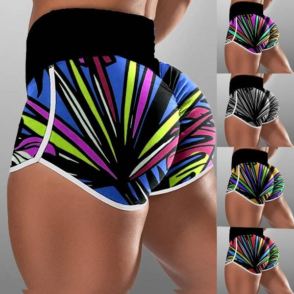Plus Size New Women's Fashion High Waist Breathable Colorblock Sport Shorts Ladies Workout Short Pants Fitness Gym Shorts Elastic Waist Women Printed Short Pants Sports Shorts Leggings Sexy Skinny Shorts S-5XL