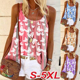 2020 Plus Size Fashion Women Summer Casual Tank Tops Loose Beach Blouses Sleeveless Bohemia Printed Cotton Beach T Shirt