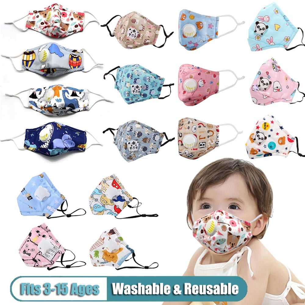 Cute Children PM2.5 Mouth Mask Kids Breath Valve Anti Haze Reusable Mask Anti Dust Mouth Cover Respirator Face Masks Washable Mask Filter Fits 2-15 Years Old Kids