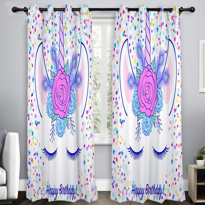 3D  Window Sheer Curtain Fantasy Animal Unicorn Curtain Window Drapes for Door Kitchen Living Room Bedroom