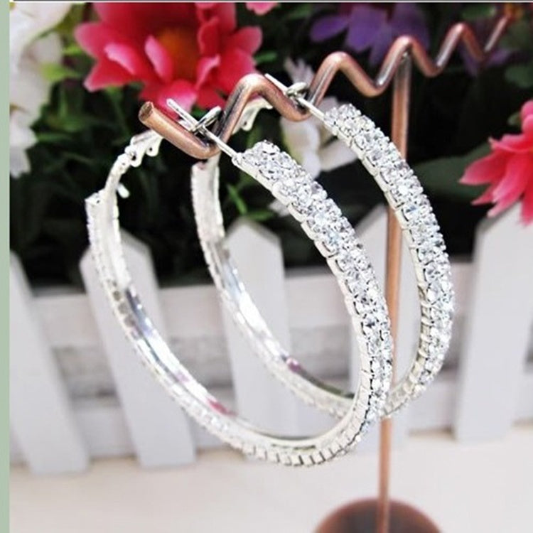"Fad 2 1/5"" Silver Plated 2-Row Cubic Zirconia Womens Hoop Earrings"