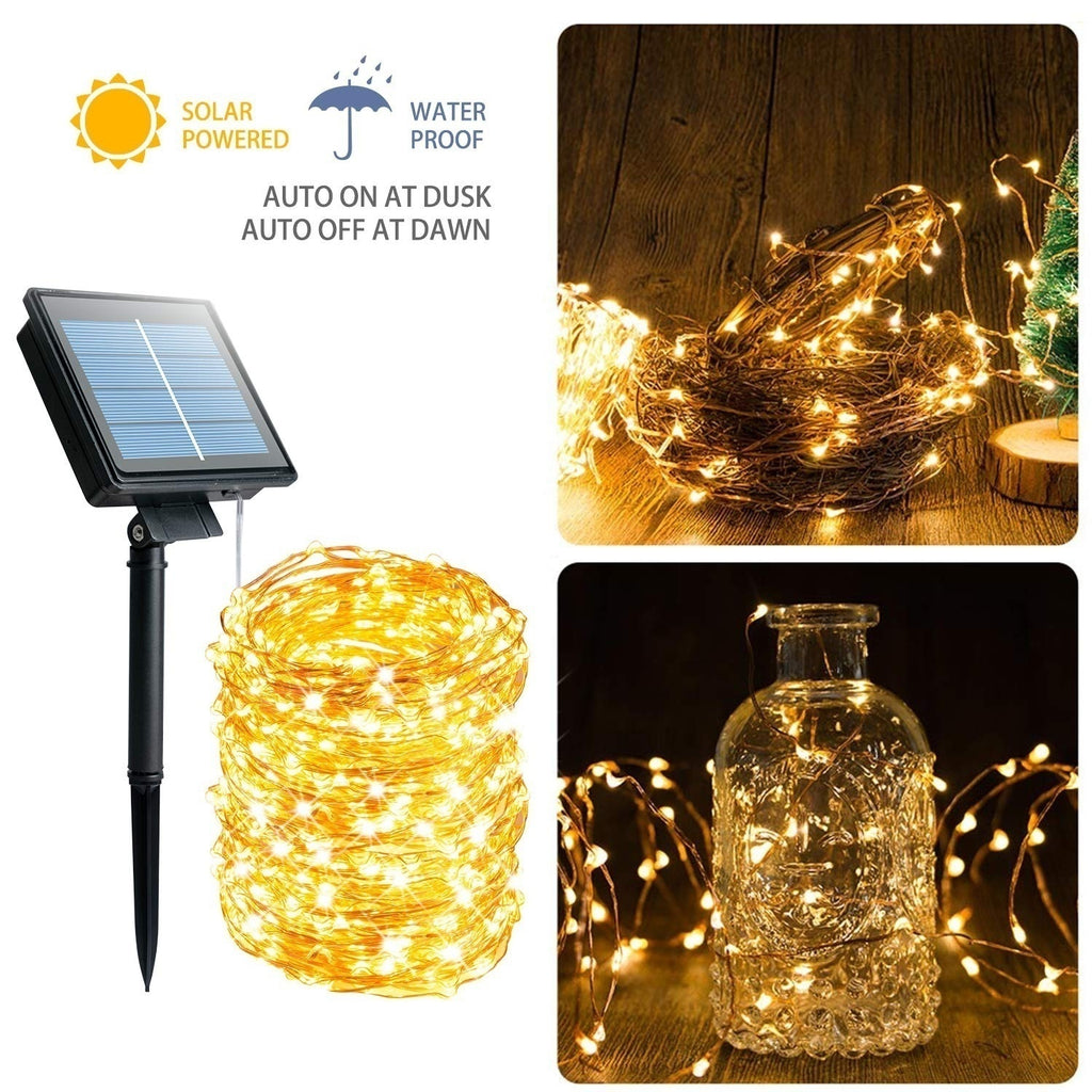 Solar String Lights 8 Modes Solar Powered Copper Wire Fairy Lights IP65 Waterproof Indoor Outdoor Lighting for Home, Garden, Party, Path, Lawn, Wedding, Christmas, DIY Decoration
