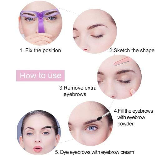 8PCS Eyebrow Shaper Makeup Template Eyebrow Grooming Shaping Stencil Kit DIY Eyebrow Template