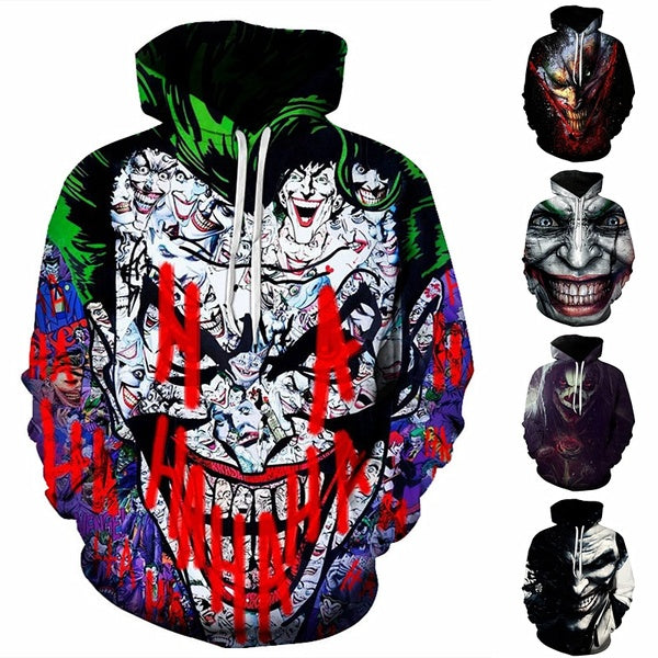 New Fashion 3D Clown Printed Hoodies Joker Winter Warm Hooded Sweatshirt Men Women Hoodie Size S-6XL
