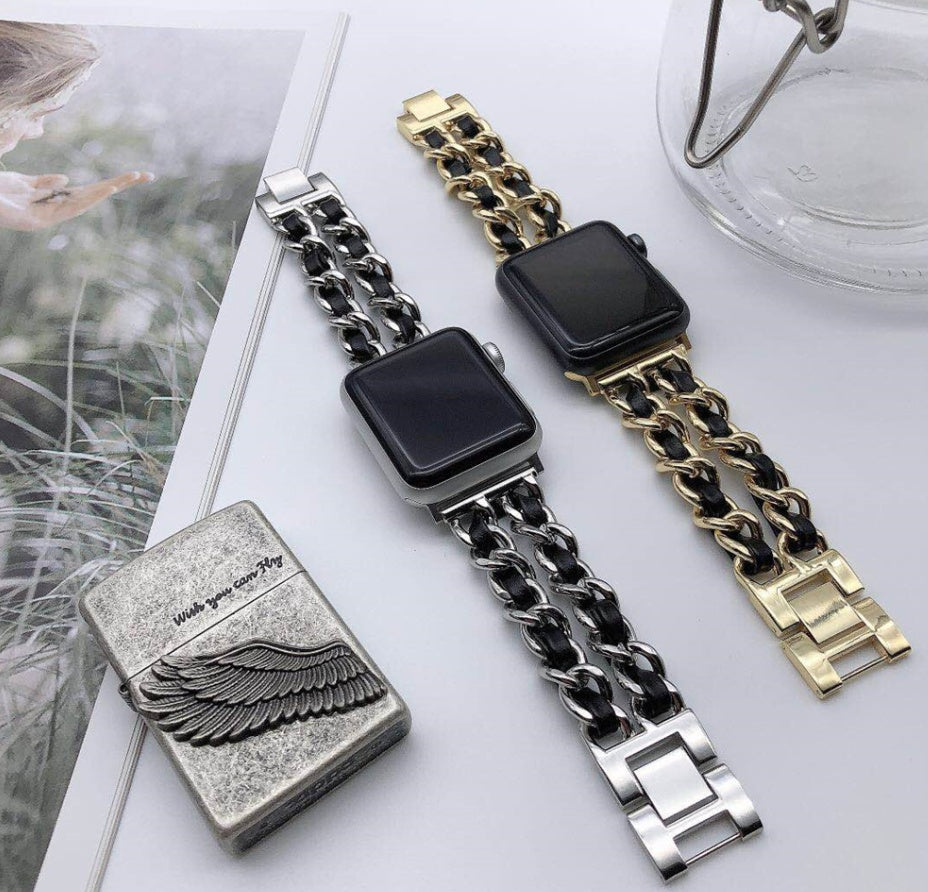 Apple Watch 5 4 40mm 44mm Watchbands Stainless Steel Chain With Leather Bracelet Strap band for iwatch Series 3 2 38mm 42mm