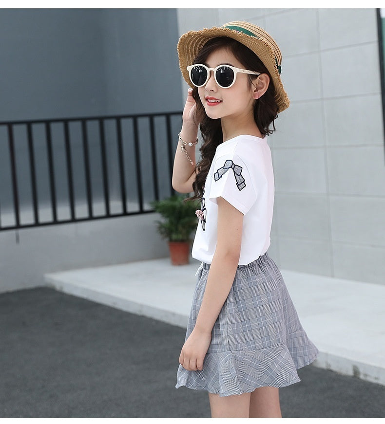 Fashion 2pcs Girls Clothing Sets 4-14 Years Kids Clothes Cotton Causla T-shirts + Dress Outfits Summer Boutique Suits
