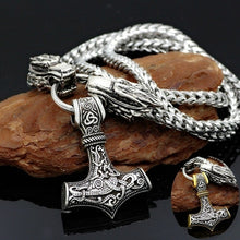 Load image into Gallery viewer, Vintage Nordic Viking Wolf Head Necklace Thor Hammer Mjolnir Pendant Necklace 316L Stainless Steel Amulet Necklace Fashion Men Punk Jewelry Necklace Gift