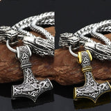 Vintage Nordic Viking Wolf Head Necklace Thor Hammer Mjolnir Pendant Necklace 316L Stainless Steel Amulet Necklace Fashion Men Punk Jewelry Necklace Gift