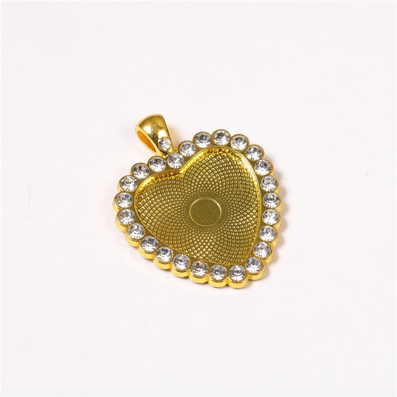 Love Heart-shaped Diamond Alloy Pendant Base 2pcs 25mm Cabochon Base Tray For Necklace Making Supplies DIY Necklace Pendant Setting Cabochon Base Jewelry Making Finding