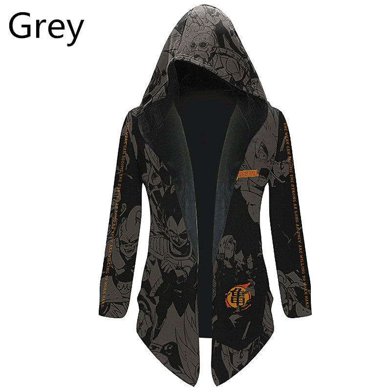 Anime Dragon Ball Pattern Cosplay Cloak Cardigan Hooded Trench Coat Mid-length Jacket