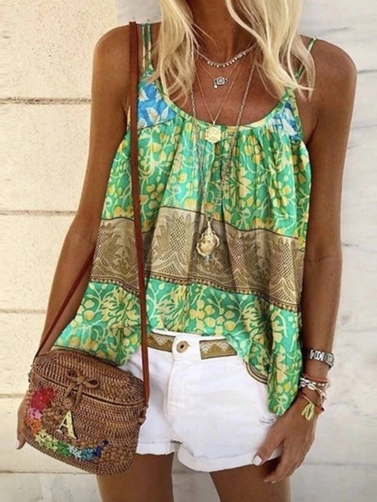 2020 Plus Size Fashion Women Summer Casual Tank Tops Loose Beach Blouses Sleeveless Printed Cotton Beach T Shirt