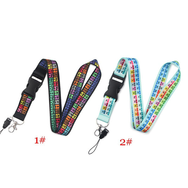 1PCS The Periodic Table Lanyards for Keys Whistle Camera Personlity Hang Rope Cool Phone Neck Strap ID Badge Holders Gift for Friends S0693