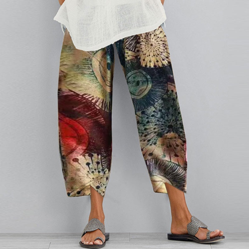 Plus Size Women Ethnic Printed Cotton Linen Pants Elastic Waist Baggy Loose Trousers