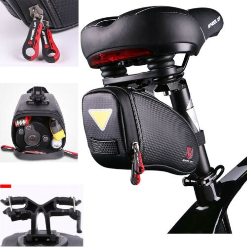 Newly Black Waterproof Bike Cycling Saddle Bags Multifunction Bike Hardshell Seat Bag Removable Carry Carrier Saddle Bag Pannier