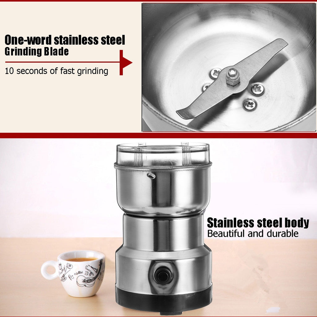 10S Fast 110V-220V Stainless Steel Electric Semi-automatic Herbs/Spices/Nuts/Grains/Coffee Bean Grinder Mill Grinding