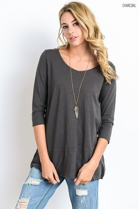 Wishlist 3/4 Sleeve Crew Neck Top