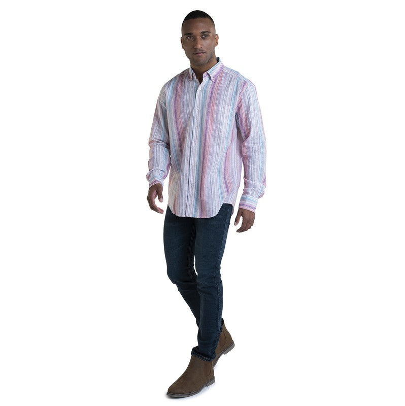 Visitor Men's Linen Blend  LS Vertical stripe shirt  Machine Washable