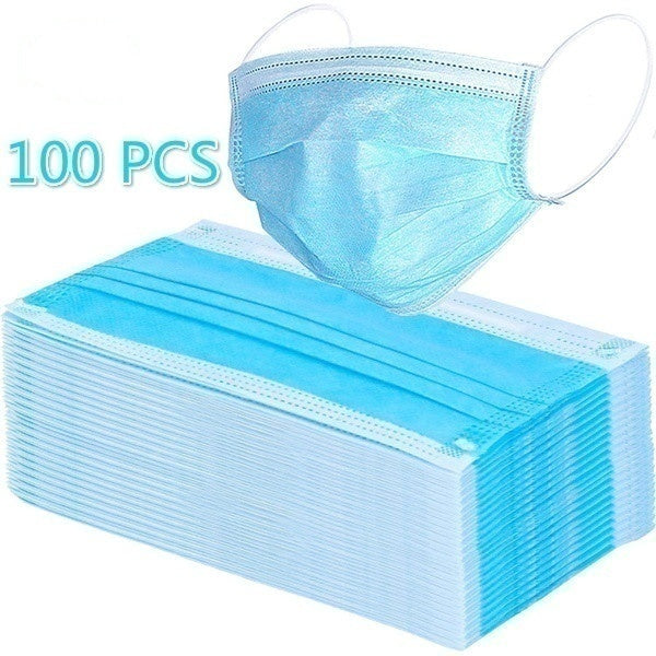 1Pcs-100PCS  3-Ply Disposable Face Mask, Dust Mask Flu Face Masks with Elastic Ear Loop for All People