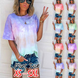 2020 Summer Plus Size Women's Fashion Loose Casual Round Neck Tie Dye Gradient Short Sleeves T Shirts Tops Blouses S-5XL