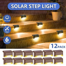 Load image into Gallery viewer, 4/8/12 Pcs Warm White Outdoor Solar Deck Lights Solar Step Lights Wall-mounted Waterproof Nightlight Security Solar Lights for Stairs Step Fence Yard Patio and Pathway