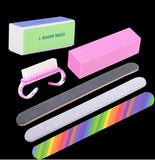 6PCS/SET Professional Nail Art Tools Nail Cleaning Brush Rectangular Buffer Nail File Manicure Tool