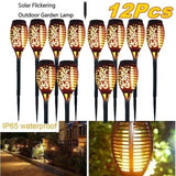 52cm IP65 Waterproof Solar Path Torches Lights Outdoor Dancing Flame Torches IP65 Waterproof Garden Landscape Decoration Light for Yard Patio Lawn Pathways Night Lights(2/6/8/12Pcs)