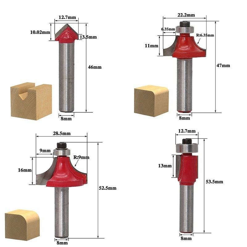 Woodworking Milling Cutters 1/4''  /  8mm Shank Carbide Router Bit For Wood Cutter Engraving Cutting Tools