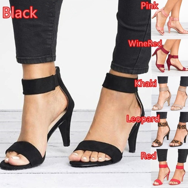 6 Colors Fashion Women Summer Back Zipper Cone High Heel Shoes Open Toe Ankle Strap Dress Sandals