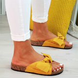 Women Thick Bottom Bow Flat Slides Slippers Beach Slip On Sandals Shoes