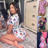 Sexy fashion Women Deep V-neck Bodycon Jumpsuit Romper Sleepwear Short Sleeve Butterfly Print Summer Jumpsuit Short Romper Bodysuit Leotard