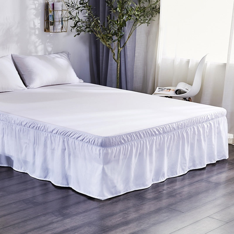 Pure Color Easy Fit Bed Skirt Hotel Elastic Band Without Bed Surface Wrap Around Queen Dust Ruffle Valance Drop