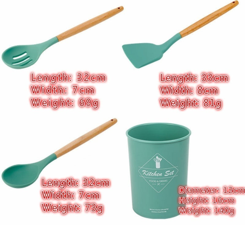 1pcs Wooden Handle Silicone Kitchenware -- Healthy Cookware Easy To Clean and High Temperature Resistance Spatula Soup Spoon Brush Ladle Pasta Colander Non-stick Cookware Kitchen Tools