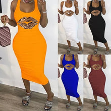 Load image into Gallery viewer, Women's Fashion Summer  Leopard Lips Crewneck Sleeveless Dress Casual Maxi Dress