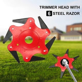 Trimmer Head Cutter, Lawn Mower Trimmer Head Grass Steel Blades Razors 6 Steel Blades Razors,65Mn Trimmer Head Cutter for Mower Grass, Brush Cutter Head for String Trimmer