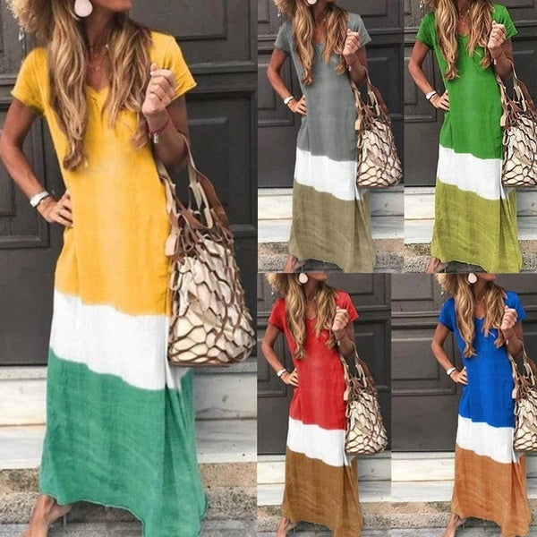 Maxi Dresses Plus Size Summer Fashion Casual V-neck Short Sleeve Dresses Women Color Stitching Loose Long Dresses Gradient Color Party Dresses