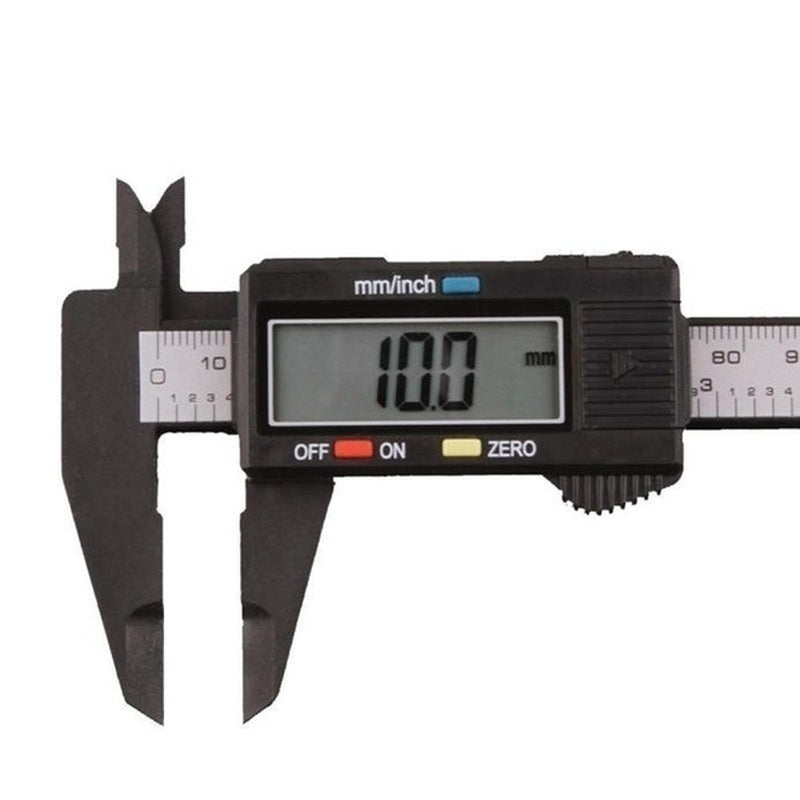 New Stylish 150mm/6 Inch LCD Digital Electronic Carbon Fiber Vernier Caliper Gauge Micromete(color: Black Silver)