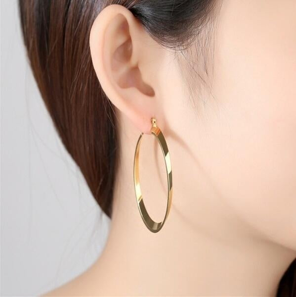 Simple ladies 14K pure gold earrings jewelry gift about 58mm long and about 30mm wide
