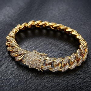 1 PCS Punk Jewelry Tide Men's 24K Gold / 925 Silver Plated Necklace or Bracelet with Diamond Thick Miami Cuban Link Chain