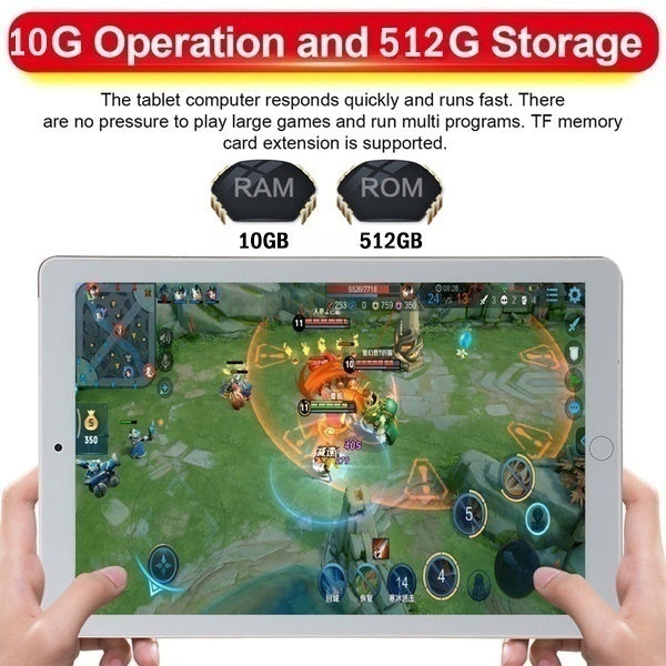 10.1 Inch Ten Core  WiFi Tablet PC Android 9.0 Arge 2560*1600 IPS Screen Dual SIM Dual Camera Rear 13.0 MP IPS tablet Call Phone Tablet Gifts(RAM 10G+ROM 512GB) Tablet-PC Tablette