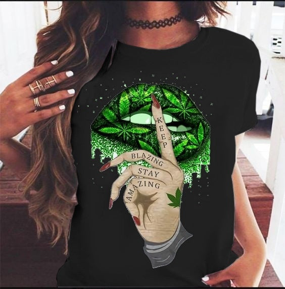 Summer Women's Fashion Sexy Lips and Keep Blazing Stay Amazing Printed Funky Short Sleeves T Shirts Tops