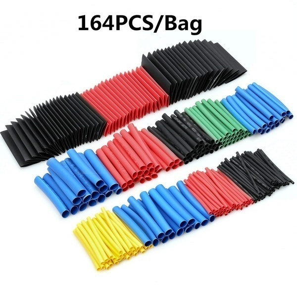 50/100/127/164/328/530 Pcs Pcs Electrical Wire Connectors Insulated Solder Sleeve Tube Heat Shrink Sorder Terminal Waterproof Butt Connectors