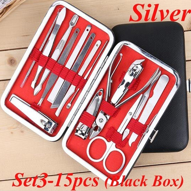 New 4/7/10/15/18/25 pcs Manicure Pedicure Set Nail Clippers Portable Travel Hygiene Kit Stainless Steel Nail Cutter Tool Set