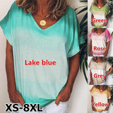 XS-8XL New Summer Women's Fashion Gradient Tie-dyed Printing Tops Casual V-Neck Short Sleeve Shirts Pullover Cotton T Shirt Loose Plus Size Blouses