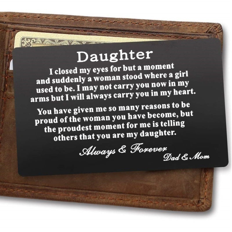 Son / Daughter - Wallet Card - Birthday Gift - Mom's Love - Metal Wallet Card - Creative New alloy Gifts