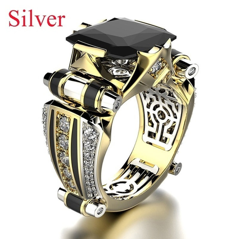 Men's fashion luxury jewelry 925 pure silver 18K Gold separate Natural White Sapphire Diamond Ring European and American business men Engagement Wedding Ring anniversary gift birthday party jewelry size us6-13