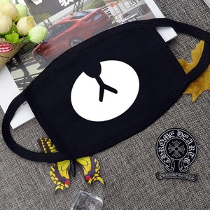 Fashion Cartoon Pattern Solid Black Cotton Face Mask Cute 3D Black Print Half Face Mouth Muffle Masks Health Beauty Accessories
