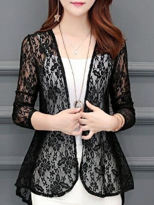 Women Autumn Long Sleeve Open Front Lace Cardigan Outrwear Blazer Tops
